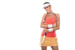 Красивый теннисист девушки с ракеткой дальше Стоковое Фото