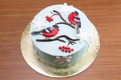 Красивый торт десерта для рождества с птицами Стоковая Фотография