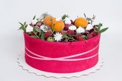 Красивый торт плодоовощ с розовым печеньем вокруг его Стоковая Фотография RF