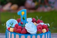Красивый торт с одно для дня рождения Стоковые Изображения RF