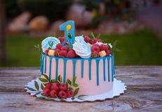 Красивый торт с одно для дня рождения Стоковые Фотографии RF