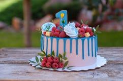Красивый торт с одно для дня рождения Стоковые Фото