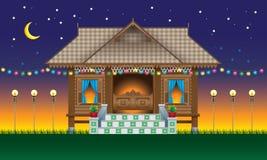Красивый традиционный деревянный дом в деревне стиля Malay Стоковая Фотография RF