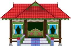 Красивый традиционный деревянный дом в деревне стиля Malay стоковое фото