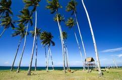 Красивый тропический вид на море под ярким солнечным днем, песчаный пляж, Стоковое Фото