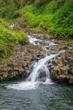 Красивый тропический водопад около Ганы Мауи Стоковое фото RF