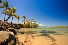 Красивый тропический залив с пальмами стоковая фотография rf