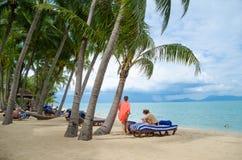 Красивый тропический пляж острова Koh Samui, Таиланда Стоковое Изображение