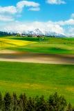 Красивый луг ландшафта, зеленых и желтых с полем и горой и деревней снега Словакия, Центральная Европа, зона Стоковое Фото