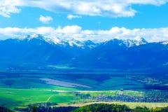 Красивый луг ландшафта, зеленых и желтых с полем и горой и деревней снега Словакия, Центральная Европа, Liptov Стоковое Изображение RF