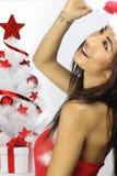 Красивый усмехаться девушки santa Стоковые Изображения