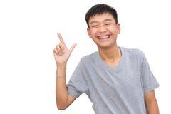 Красивый усмехаться красивого мальчика с зубами связывает зубоврачебное Стоковое Фото
