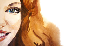 Красивый усмехаясь портрет женщины на белой предпосылке, акварели Стоковое Фото