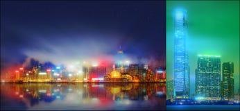 Красивый установленный городской пейзаж и коллаж финансового района, Гонконга Стоковые Изображения
