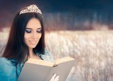 Красивый ферзь снега читая книгу стоковое фото