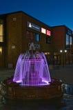 Красивый фонтан в вечере Город Nakhodka Дальний Восток России 22 09 2013 Стоковая Фотография