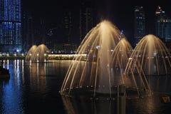 Красивый фонтан на ноче, романтичной предпосылке стоковое фото rf