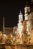 Красивый фонтан Нептуна на аркаде Navona в Риме, Италии Стоковые Фото
