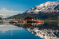 Красивый фьорд с снежными горами в Норвегии стоковое фото