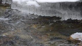 Красивый холод бежать свежие речная вода и видео макроса льда видеоматериал