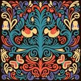 Красивый цветочный узор с сычом, птицей и маслом Иллюстрация вектора