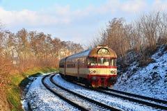 Красивый чехословакский пассажирский поезд с экипажами Стоковое Изображение