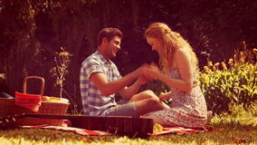 Красивый человек делая предложение руки и сердца к его подруге сток-видео