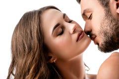 красивый чувственный изолированный целовать пар Стоковое Изображение