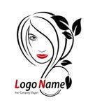 Красивый шаблон логотипа вектора женщины для парикмахерской, salo красоты Стоковое Фото