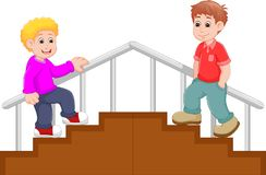 Красивый шарж детей на лестницах иллюстрация вектора