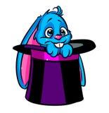 Красивый шарж цилиндра фокуса кролика иллюстрация штока