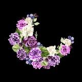 Красивый, яркий венок акварели с розами, пион, евкалипт и berryes Стоковое фото RF