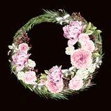Красивый, яркий счастливый венок акварели Нового Года с розами, пион и ягода Стоковое Изображение RF