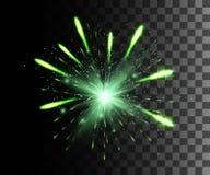 Красивый яркий ый-зелен фейерверк украшения фейерверка для дня рождения фестиваля праздника торжества Нового Года рождества изоли Стоковое Изображение RF