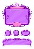 Красивый girlish фиолетовый пользовательский интерфейс игры Стоковые Изображения RF