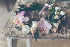 Красивый handmade флористический венок Стоковое Изображение