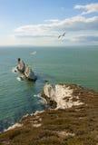 Красивый seascape. Остров Уайт, иглы, Англия. Стоковые Изображения