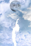Красивый silhouetted обнажённый хвалить женщины Стоковые Фотографии RF