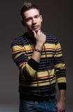 красивый striped пуловер человека стоковое фото