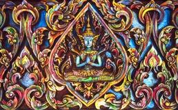 Красивым тайским древесина высекаенная буддистом Стоковое Изображение