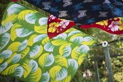 Красивым ткань напечатанная батиком Стоковая Фотография