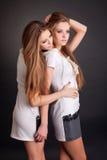 2 красивых близнеца девушек, изолированного на черноте Стоковая Фотография RF