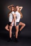 2 красивых близнеца девушек, изолированного на черноте Стоковое фото RF
