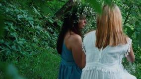 2 красивых девушки в длинных платьях сидят в древесинах акции видеоматериалы