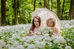 2 красивых дет сидя в луге под зонтиком Стоковое Изображение