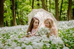 2 красивых дет сидя в луге под зонтиком стоковое фото rf