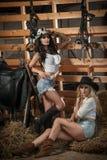 2 красивых девушки, блондинка и брюнет, с взглядом страны, внутри помещения сняли в стабилизированном, деревенском стиле Привлека Стоковые Фотографии RF