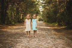 2 красивых девушки идя в древесины Стоковые Фотографии RF