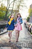 2 красивых девушки идя совместно и беседуя Стоковые Изображения