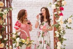 2 красивых девушки одели в платьях лета около свода цветка выпивают красное вино Стоковое Фото